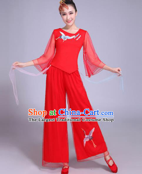 Chinese Traditional Yangko Dance Printing Cranes Costumes Folk Dance Fan Dance Red Clothing for Women