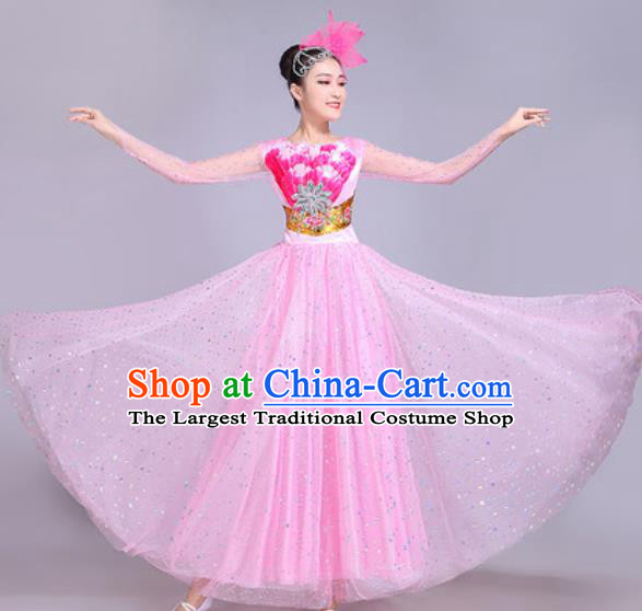 Professional Modern Dance Pink Veil Dress Stage Show Chorus Group Dance Costumes for Women