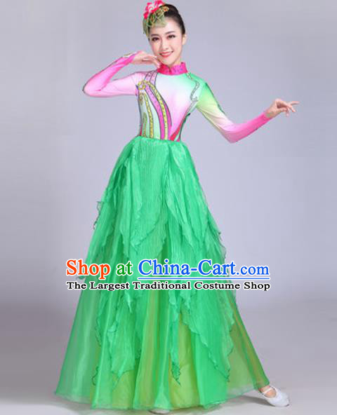 Professional Modern Dance Green Long Dress Stage Show Chorus Group Dance Costumes for Women