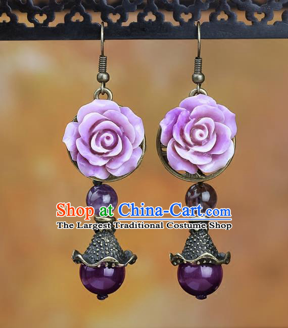 Chinese National Classical Hanfu Purple Rose Earrings Traditional Ear Jewelry Accessories for Women