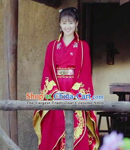 Chinese Traditional Ming Dynasty Wedding Replica Costumes Ancient Princess Red Hanfu Dress for Women