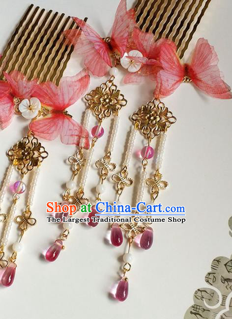 Handmade Chinese Traditional Red Butterfly Hair Combs Ancient Classical Hanfu Hair Accessories for Women
