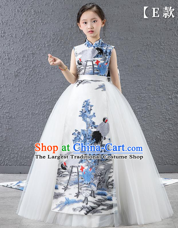Children Modern Dance Costume Chinese Compere Catwalks Qipao Dress for Kids