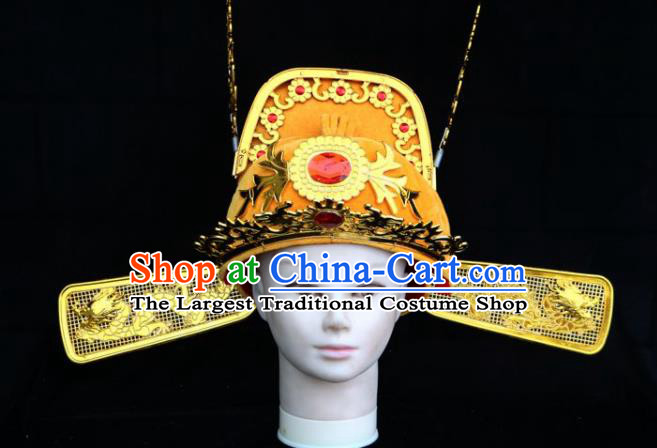 Traditional Chinese Beijing Opera Bridegroom Hair Accessories Peking Opera Niche Golden Hat for Men