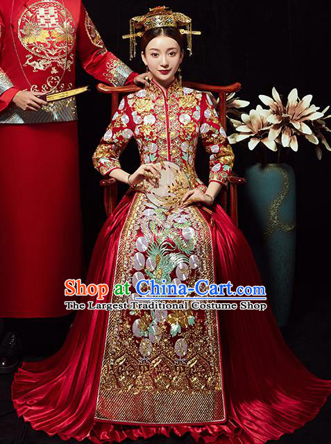 Chinese Traditional Wedding Costumes Bride Embroidered Phoenix Red Xiuhe Suits Ancient Full Dress for Women