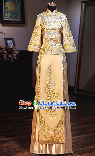 Chinese Traditional Wedding Costumes Bride Embroidered Peony Golden Xiuhe Suits Ancient Full Dress for Women