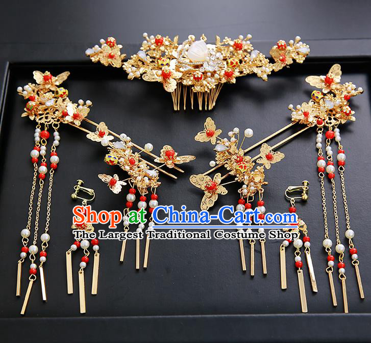 Chinese Ancient Traditional Hanfu Butterfly Hair Clips Hairpins Handmade Classical Hair Accessories Complete Set for Women