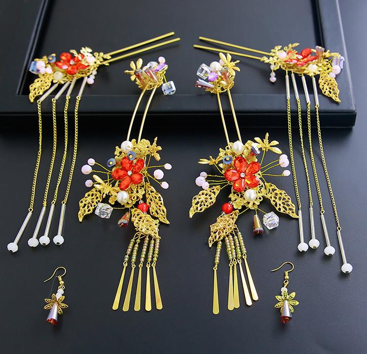 Chinese Ancient Traditional Hanfu Tassel Hair Clips Hairpins Handmade Classical Hair Accessories Complete Set for Women