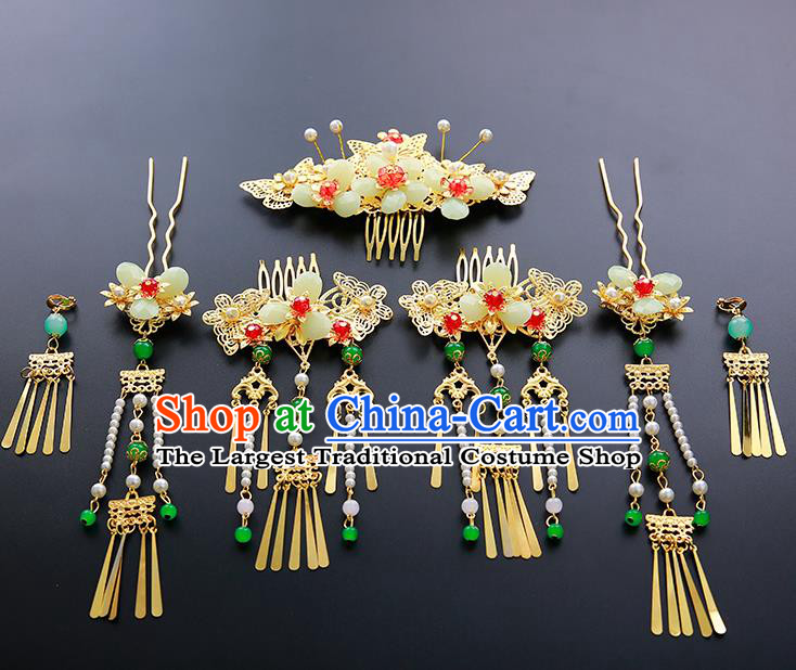 Chinese Ancient Traditional Hanfu Hairpins Hair Combs Handmade Classical Hair Accessories Complete Set for Women