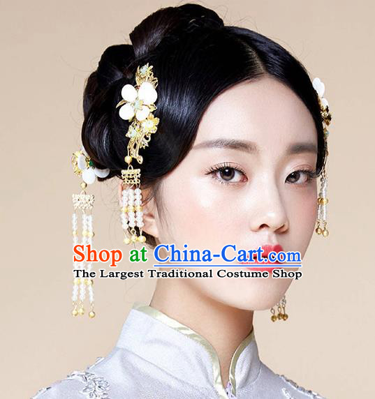 Chinese Ancient Traditional Hanfu Hairpins Flowers Hair Clasp Handmade Classical Hair Accessories Complete Set for Women