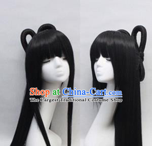 Chinese Ancient Cosplay Peri Wigs Traditional Princess Chignon Handmade Wig Sheath