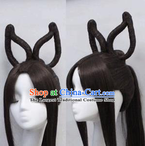 Chinese Ancient Cosplay Peri Wigs Traditional Princess Swordswoman Chignon Handmade Wig Sheath