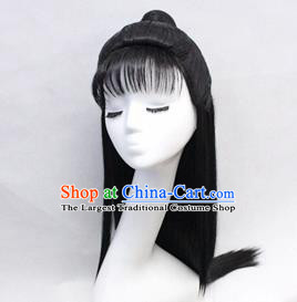Chinese Ancient Cosplay Swordsman Wigs Traditional Nobility Childe Chignon Handmade Wig Sheath