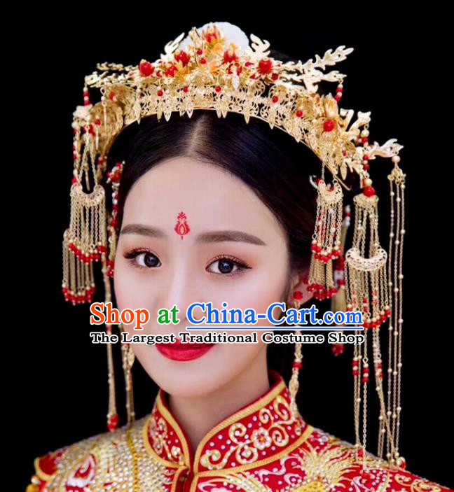 Chinese Ancient Traditional Hanfu Hairpins Handmade Bride Jade Phoenix Coronet Classical Hair Accessories for Women
