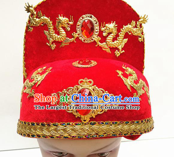 Traditional Chinese Beijing Opera Minister Red Hat Peking Opera Hair Accessories Hat for Men