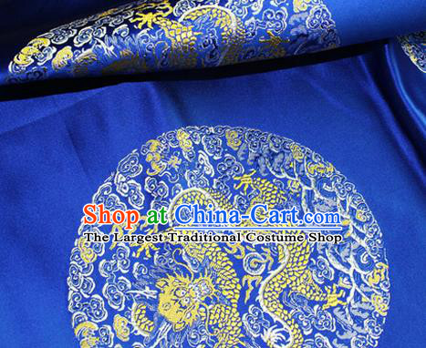 Asian Chinese Tang Suit Satin Material Traditional Dragon Pattern Design Royalblue Brocade Silk Fabric
