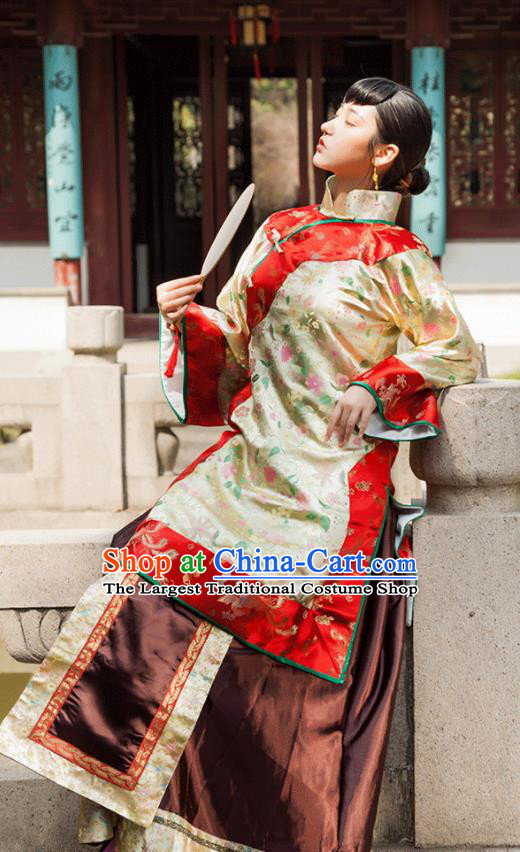 Traditional Chinese Qing Dynasty Young Mistress Xiuhe Suits Ancient Drama Nobility Lady Costumes for Women