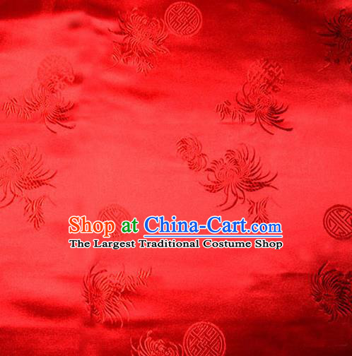 Asian Chinese Tang Suit Red Brocade Material Traditional Longevity Chrysanthemum Pattern Design Satin Silk Fabric