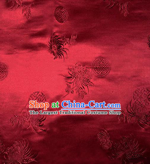 Asian Chinese Tang Suit Wine Red Brocade Material Traditional Longevity Chrysanthemum Pattern Design Satin Silk Fabric