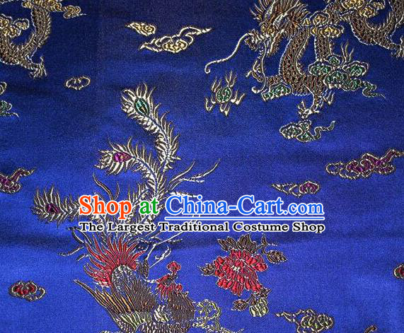 Asian Chinese Tang Suit Royalblue Brocade Silk Fabric Traditional Dragon Pattern Design Satin Material