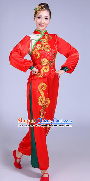Chinese Traditional Yangko Dance Red Costumes Stage Performance Group Dance Folk Dance Clothing for Women