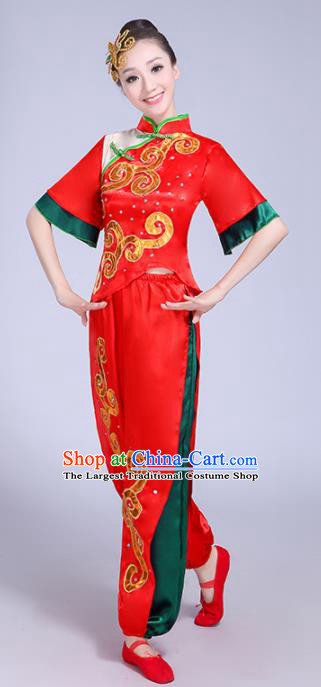 Chinese Traditional Yangko Dance Costumes Stage Performance Group Dance Folk Dance Red Clothing for Women