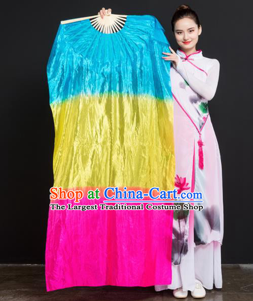 Chinese Traditional Folk Dance Props Gradient Ribbon Silk Fans Folding Fans Yangko Fan
