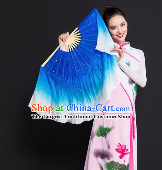 Chinese Traditional Folk Dance Props Double Sides Royalblue Ribbon Silk Fans Folding Fans Yangko Fan