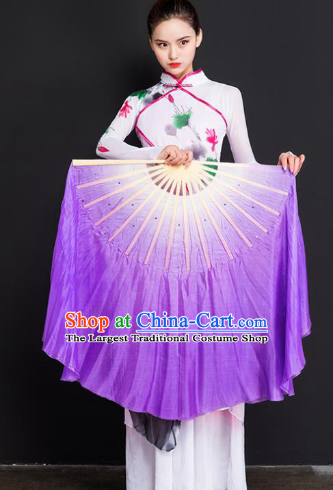 Chinese Traditional Folk Dance Props Double Sides Purple Ribbon Silk Fans Folding Fans Yangko Fan