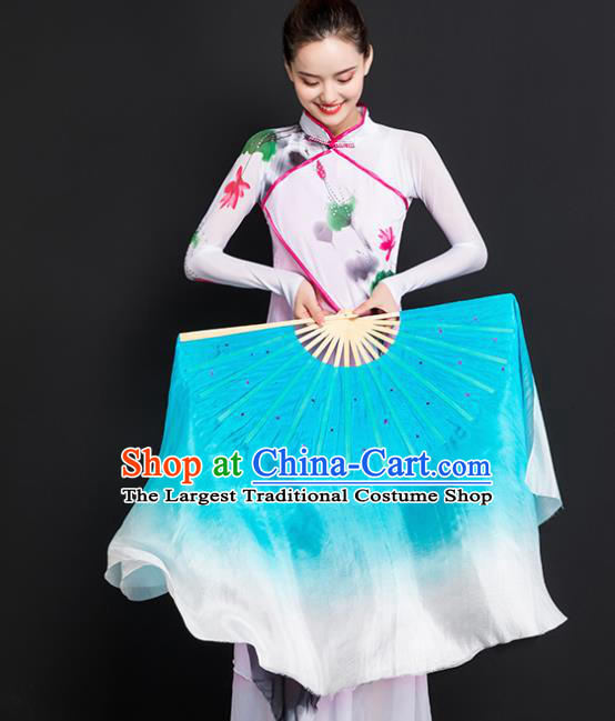 Chinese Traditional Folk Dance Props Double Sides Blue Ribbon Silk Fans Folding Fans Yangko Fan