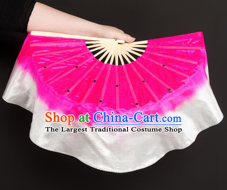 Chinese Traditional Folk Dance Props Rosy Ribbon Silk Fans Folding Fans Yangko Fan