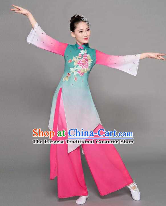 Chinese Traditional Classical Dance Green Costumes Stage Performance Group Dance Dress for Women