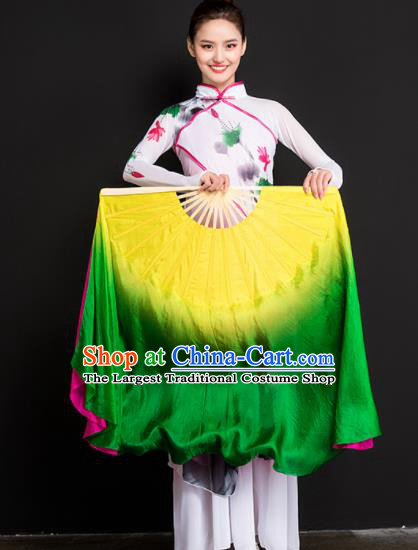 Chinese Traditional Folk Dance Props Long Ribbon Double Sides Fans Silk Folding Fans Yangko Fan