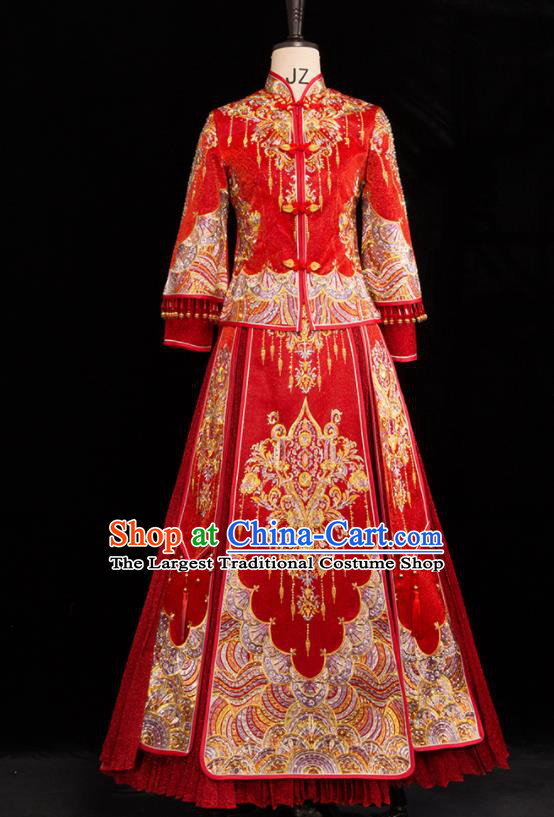 Chinese Traditional Wedding Toast Xiuhe Suits Ancient Bride Handmade Embroidered Costumes for Women
