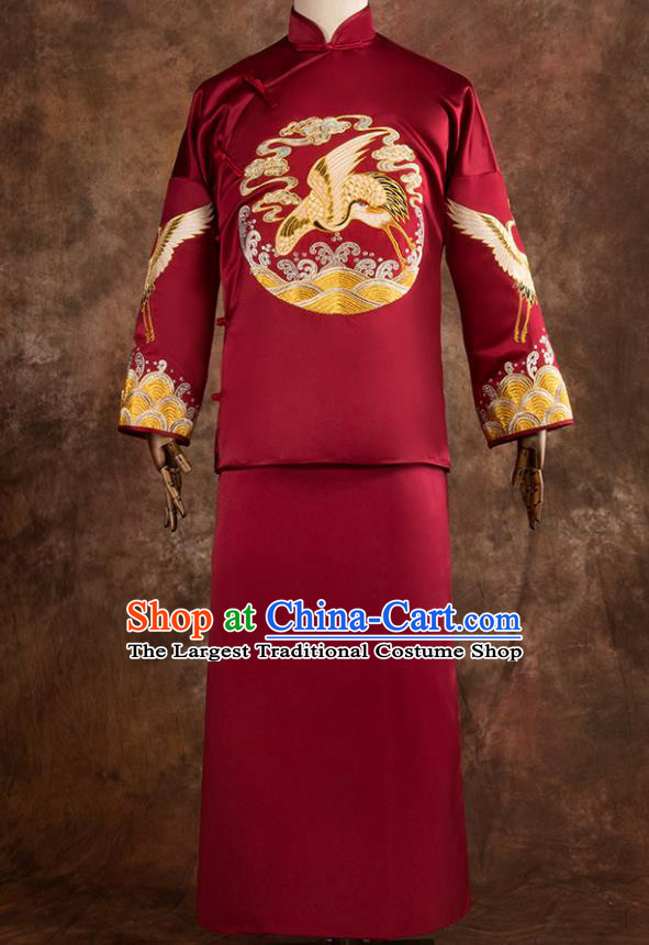 Chinese Traditional Wedding Costumes Tang Suit Bridegroom Embroidered Crane Red Long Gown for Men