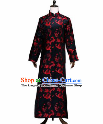 Chinese Traditional Wedding Costumes Ancient Bridegroom Tang Suit Black Robe for Men