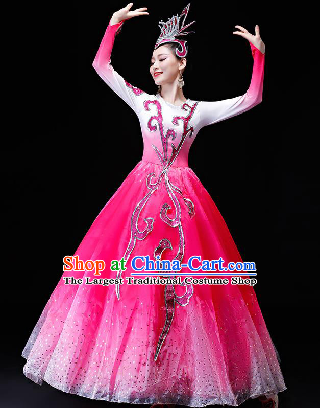 Professional Modern Dance Costumes Opening Dance Stage Show Pink Dress for Women