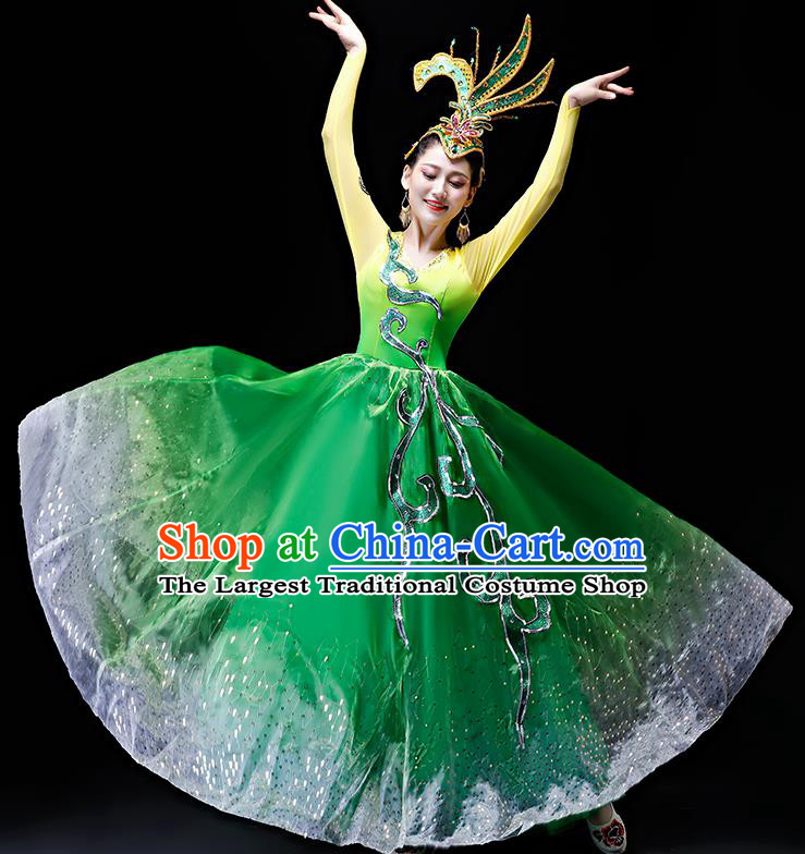 Professional Modern Dance Costumes Opening Dance Stage Show Green Dress for Women