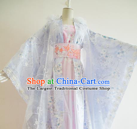 Traditional Chinese Tang Dynasty Princess Costumes Ancient Cosplay Peri Blue Hanfu Dress for Women
