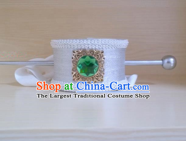 Chinese Ancient Prince Hair Accessories Tang Dynasty Swordsman White Hairdo Crown Headwear for Men