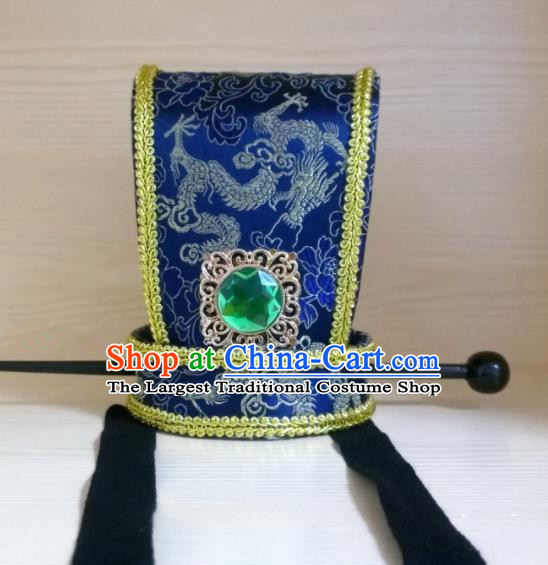 Chinese Ancient Prince Hair Accessories Tang Dynasty Swordsman Blue Hairdo Crown Headwear for Men