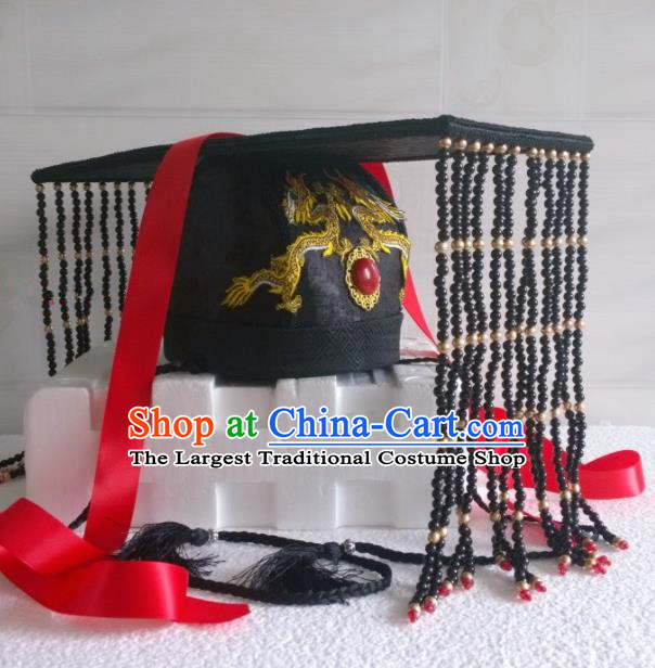 Chinese Ancient Hair Accessories Han Dynasty Emperor Black Hat Headwear for Men