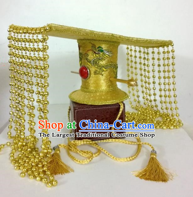 Chinese Ancient Imperator Hair Accessories Han Dynasty Emperor Golden Hat Headwear for Men