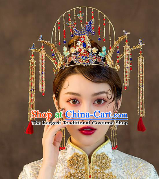 Chinese Ancient Wedding Hair Accessories Palace Cloisonne Phoenix Coronet Bride Hairpins Headwear for Women