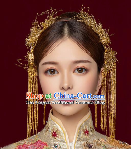 Chinese Ancient Wedding Hair Accessories Golden Tassel Step Shake Bride Hairpins Headwear for Women