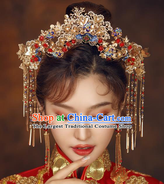 Chinese Ancient Bride Golden Phoenix Coronet Wedding Hair Accessories Palace Hairpins Headwear for Women
