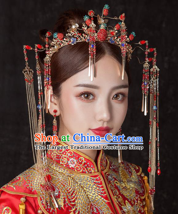 Chinese Ancient Palace Bride Hair Accessories Wedding Strawberry Phoenix Coronet Hairpins Headwear for Women