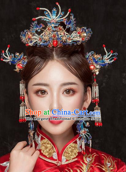 Chinese Ancient Palace Bride Hair Accessories Phoenix Coronet Pearls Hairpins Headwear for Women