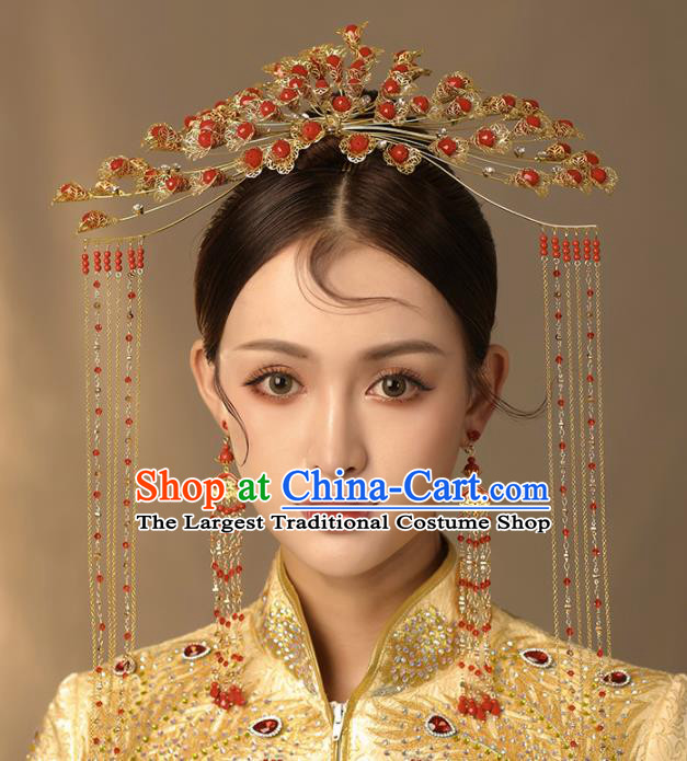 Chinese Ancient Palace Hair Accessories Bride Hanfu Red Beads Phoenix Coronet Tassel Hairpins Headwear for Women