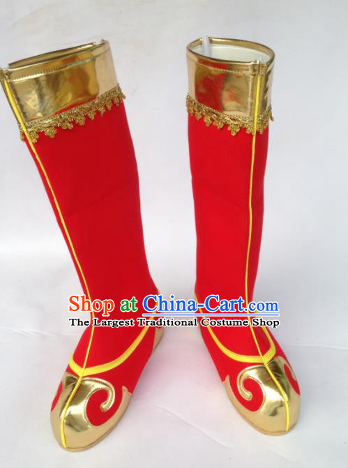 Chinese Traditional Shoes Beijing Opera Handsome Monkey King Shoes Ancient Red Boots for Men